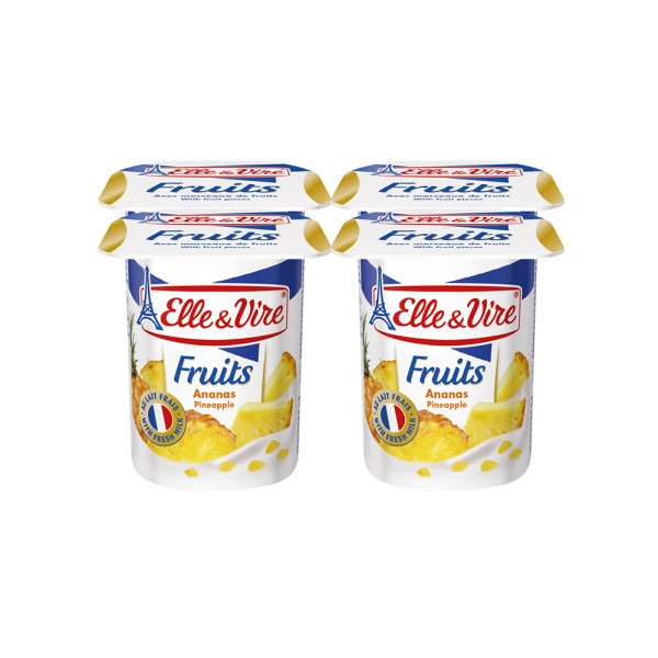 Elle & Vire Dairy Dessert with fruits - Pineapple 125G 120802-V001 by Elle & Vire