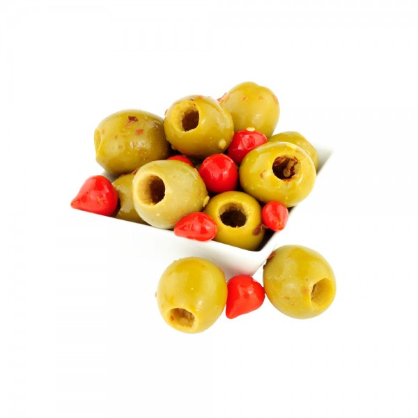 Sliced Olives With Chilli per Kg 129201-V001 by Spinneys Cheese Counter