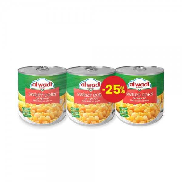 Al Wadi Alakhdar Sweet Corn 3x340g Special Price 131138-V004 by Al Wadi Al Akhdar