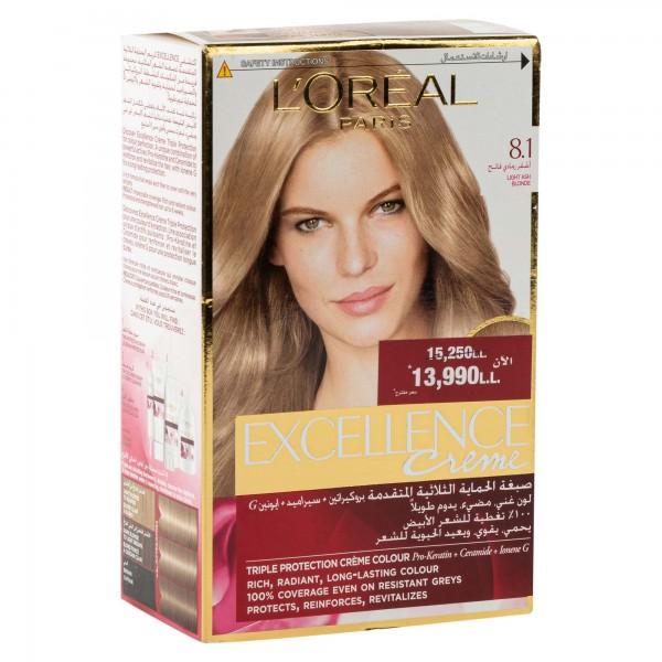 L'OREAL Paris Excellence Coloration Blond Clair Cendre 8.1 1Pc 134704-V001 by L'oreal
