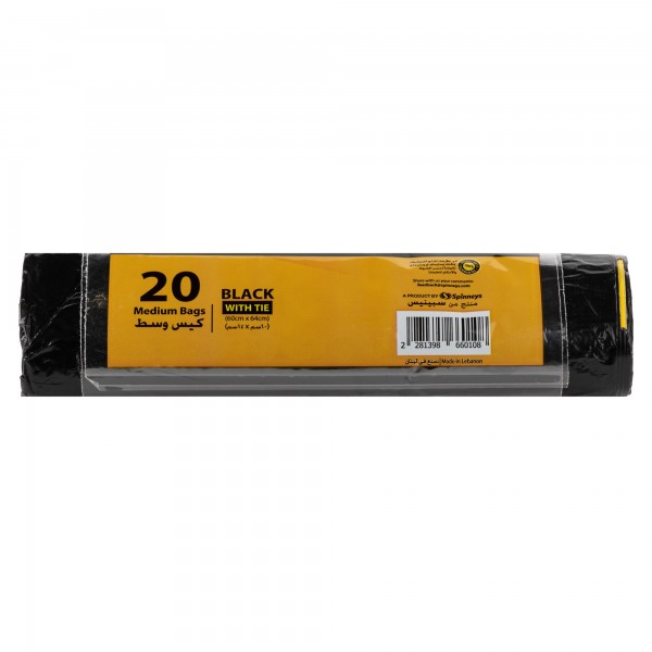 Spinneys Medium Tie-Handle Black Trash Bags 20 Sacks 139866-V001 by Spinneys Essentials