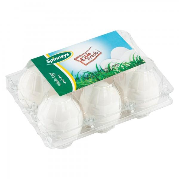 Spinneys White Eggs 6 Per Pack 145360-V001 by Spinneys Food