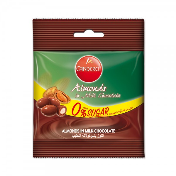 CANDEREL 0% added sugar Milk Chocolate coated Almonds 55G 332778-V001 by Canderel