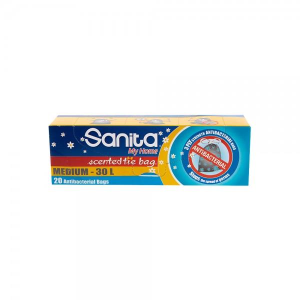 Sanita Tie Bag Antibacterial Medium 60L 20 Pieces 333208-V001 by Sanita