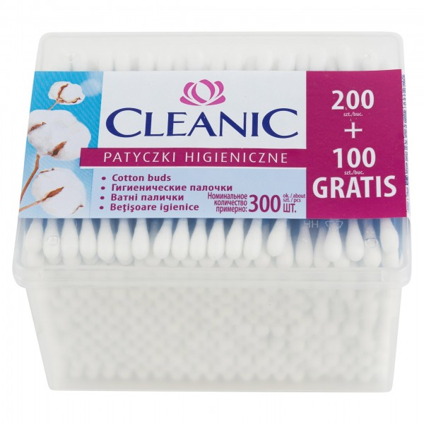 Cleanic Cotton Buds Rectangle Box 200 Pieces 362399-V001 by Cleanic
