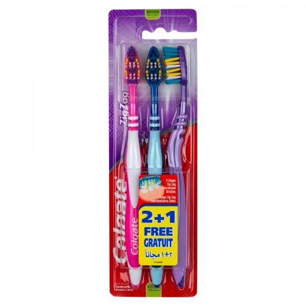 Colgate Zigzag Flexible Medium Toothbrush Multipack 3Pk 363805-V001 by Colgate
