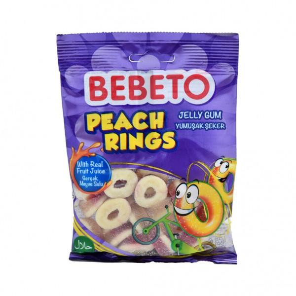 Bebeto Kervan Jelly Gum Peach Rings - 80G 372069-V001 by Bebeto