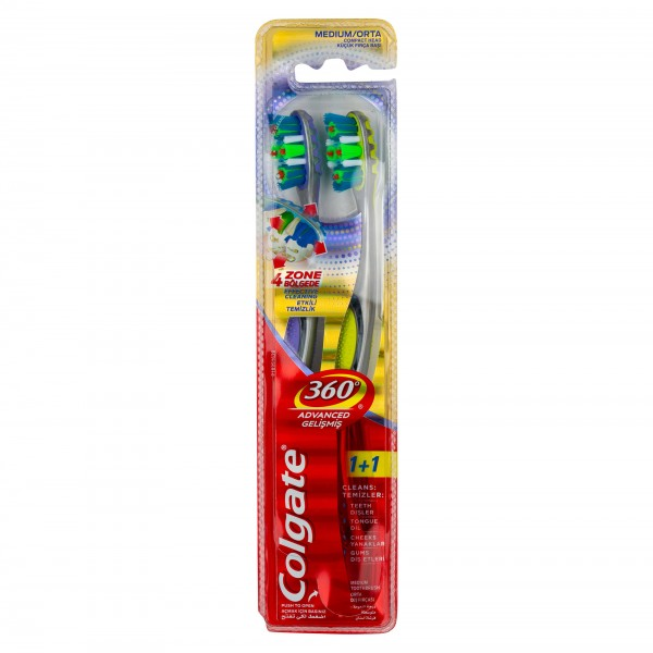 Colgate 360 Whole Mouth Clean Medium, Value Pack Toothbrush2pk 374208-V001 by Colgate