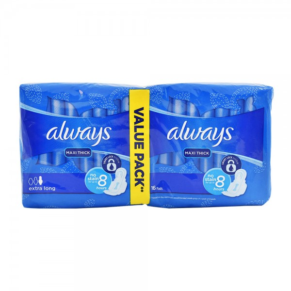 Always Maxi Thick Extra Long Pads With Wings Value Pack 18'S + 2 380364-V001 by Always