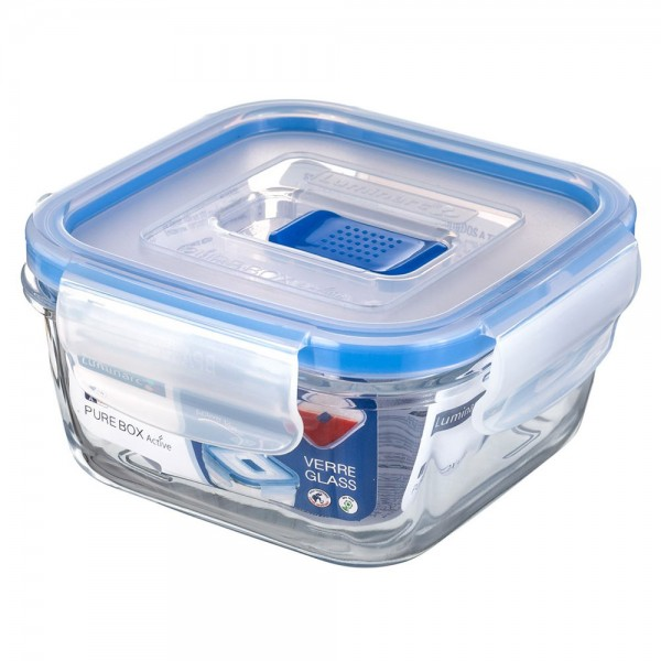 Luminarc Square Pure Box Active With Lid 122cl 392842-V001 by Luminarc