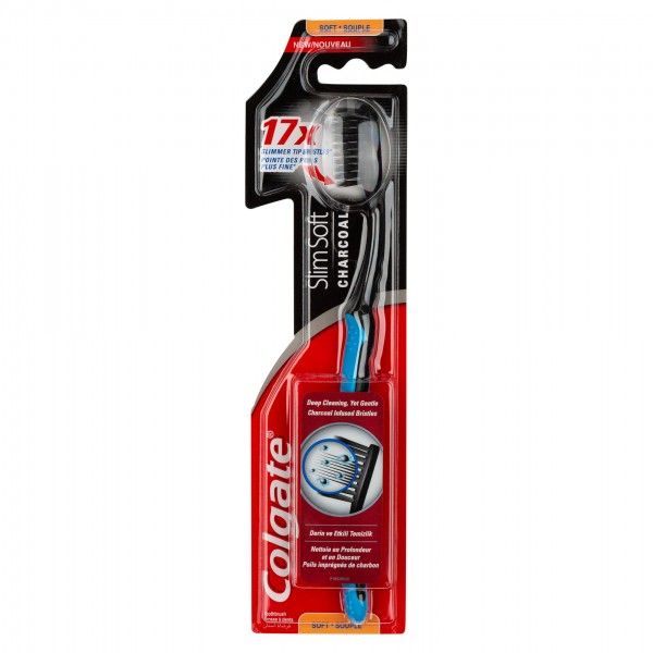 Colgate Slim Soft Black Charcoal Toothbrush 1pk 404909-V001 by Colgate