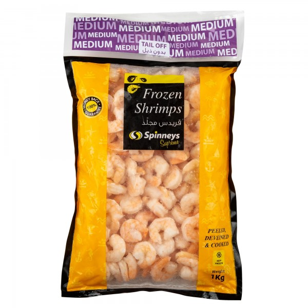 Spinneys Medium Frozen Shrimps 61/70 Peeled Deveined & Cooked Tail Off 500g 413175-V001 by Spinneys Food