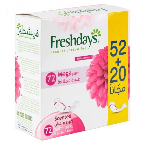 Freshdays Normal Scented Pantiliners 52's + 20 Free 423140-V001 by Sanita