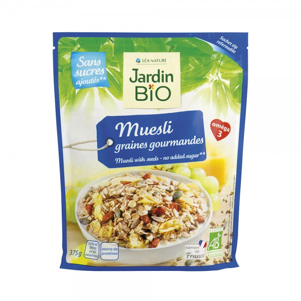 Jardin Bio Muesli Aux Graines Gourmandes Sans Sucres Ajoutés 375G 424413-V001 by Jardin Bio
