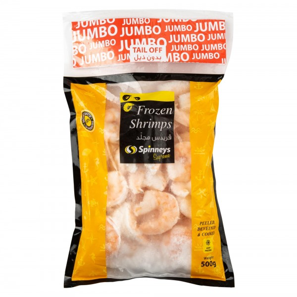 Jumbo Shrimp 21/25 P+D Tail Off 500g 426476-V001 by Spinneys Food