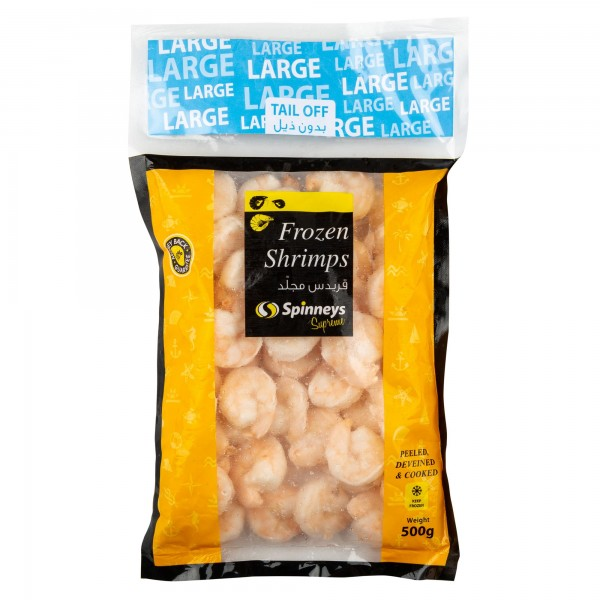 Spinneys Large Shrimps 31/40 P+D Tail Off 500g 426477-V001 by Spinneys Food