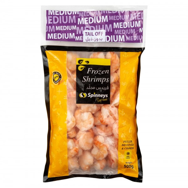 Spinneys Medium Frozen Shrimps 31/40 Peeled Deveined & Cooked Tail Off 500g 426478-V001 by Spinneys Food