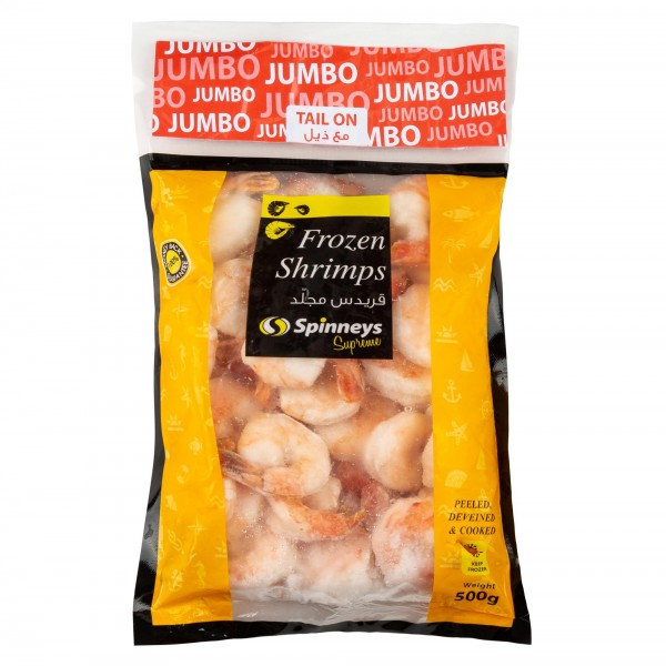 Spinneys Jumbo Shrimp 21/25 P+D Tail On - 1Kg 426480-V001 by Spinneys Food