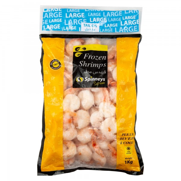 Spinneys Large Frozen Shrimps 31/40 Peeled Deveined & Cooked Tail On 1 Kg 426481-V001 by Spinneys Food