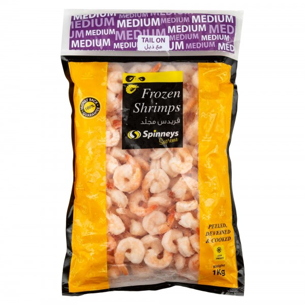 Spinneys Medium Frozen Shrimps 61/70 Peeled Deveined & Cooked Tail On 426482-V001 by Spinneys Food
