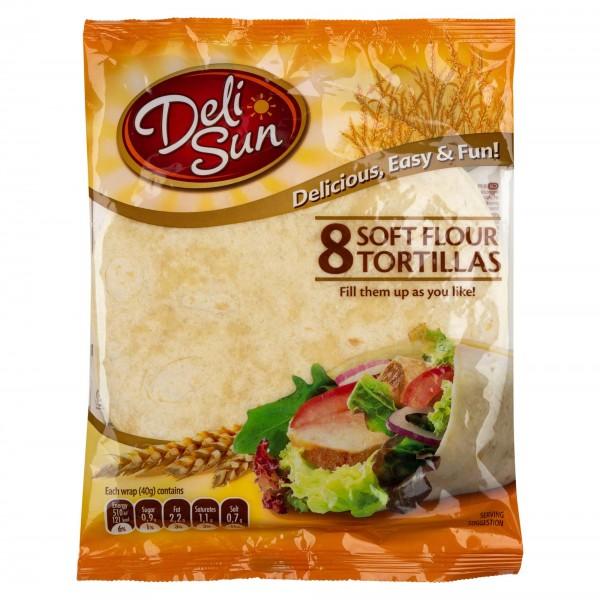 Deli Sun Plain Soft Tortillas 8 Wraps 320G 432531-V001 by Deli Sun