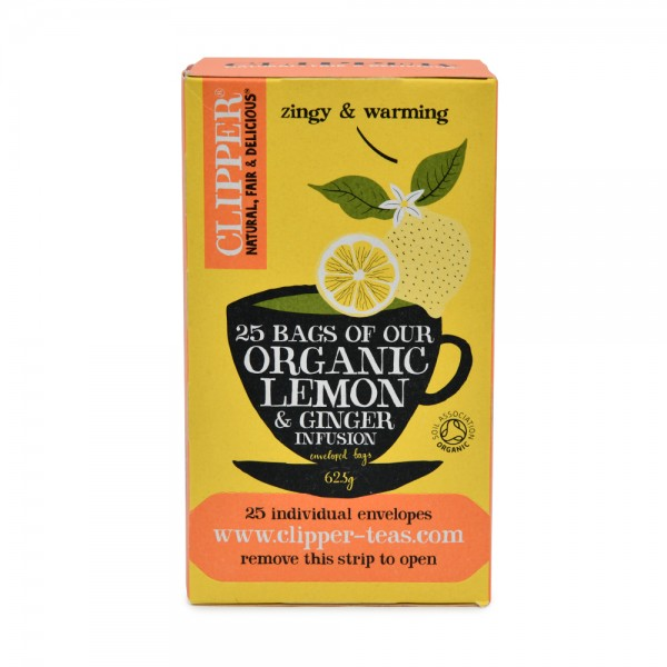 CLIPPER Fruit Infusions Organic Lemon & Ginger 25 Bags 439584-V001 by Clipper