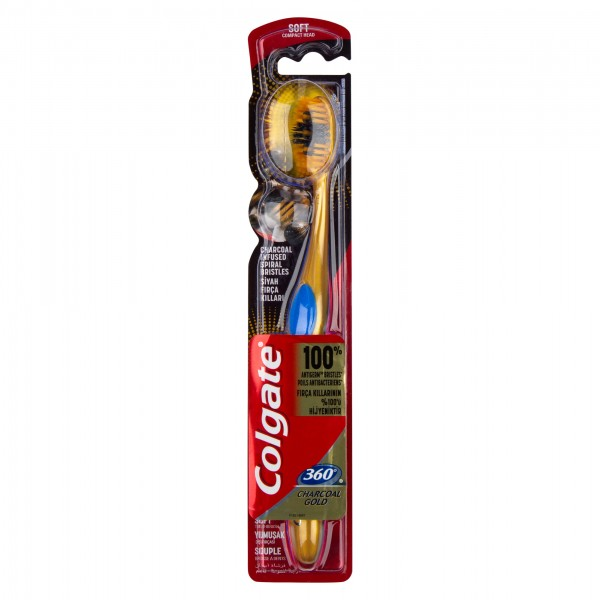 Colgate 360 Charcoal Gold Black Soft Toothbrush Multipack 2pk 445526-V001 by Colgate