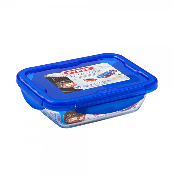 Pyrex Cook & Go Glass Rectangular Dish With Lid 0.8L 451703-V001 by Pyrex