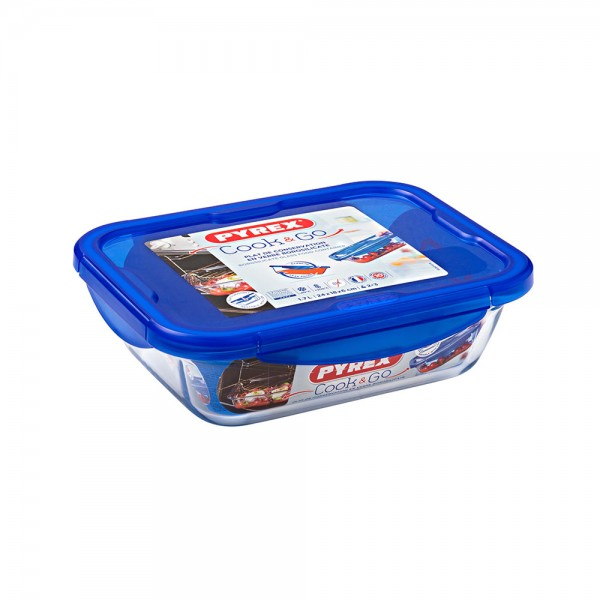 Pyrex Cook & Go Glass Rectangular Dish With Lid 1.7L 451704-V001 by Pyrex