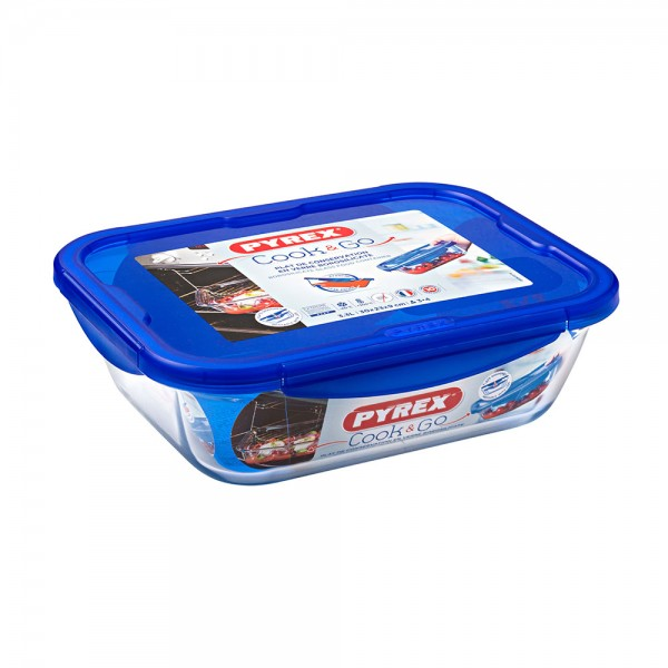 Pyrex Cook & Go Glass Rectangular Dish With Lid 3.3L 451705-V001 by Pyrex