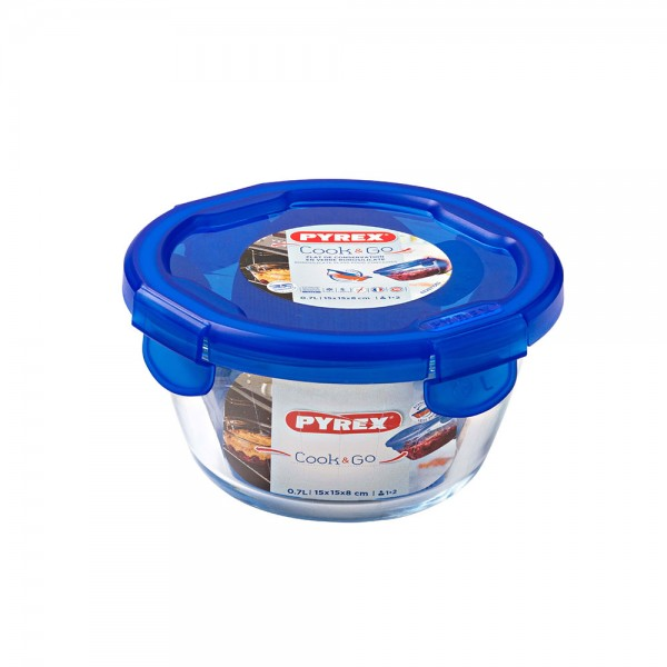 Pyrex Cook & Go Glass Round Dish With Lid 0.7L 451708-V001 by Pyrex