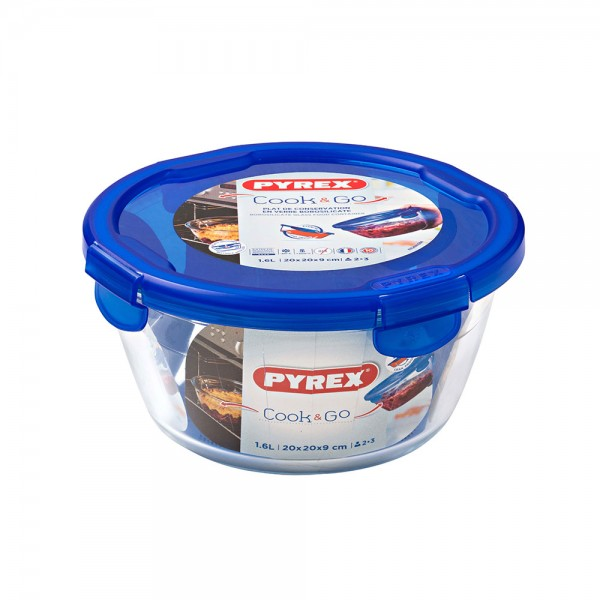 Pyrex Cook & Go Glass Round Dish With Lid 1.6L 451709-V001 by Pyrex