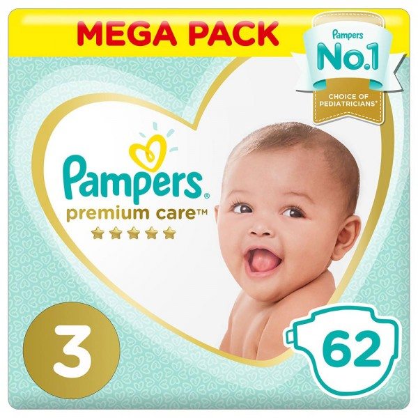 Pampers Care Mega Pack Size 3 62 Diapers 452075-V001 by Pampers