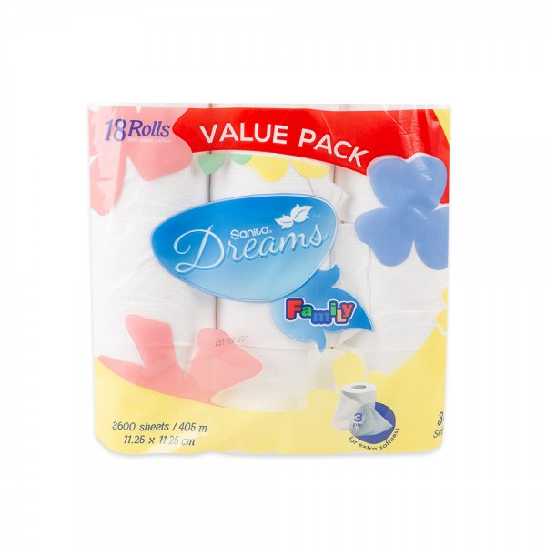 Dreams Dreams Toilet Roll 3600S - 18Roll 453898-V001 by Sanita