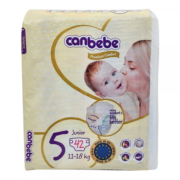 Canbebe Premium Comfort Baby Diapers Size 5 Junior 11-18Kg 42 Count 474045-V001 by Canbebe