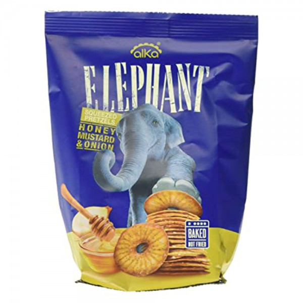 Elephant Squeezed Pretzels Honey Mustard & Onion 70G 475363-V001 by Elephant