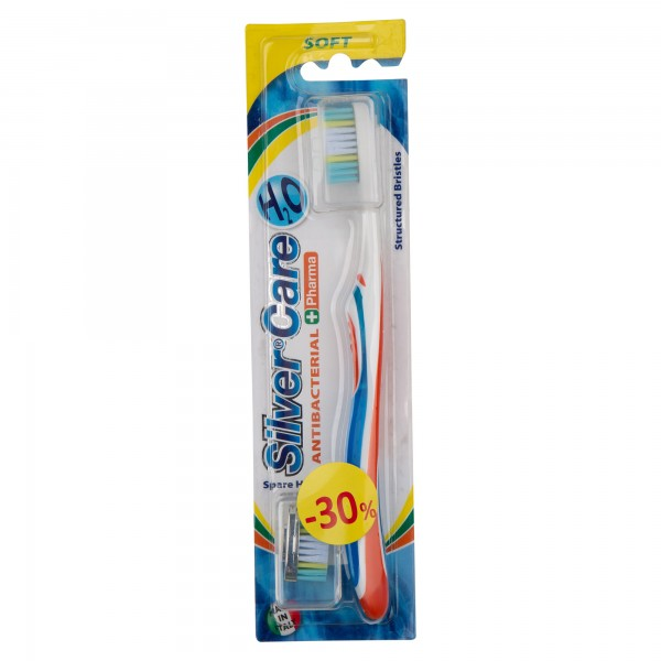 Silver Care Antibacterial Soft With Spare Head Toothbrush 2 Pieces 478595-V001 by Silver Care