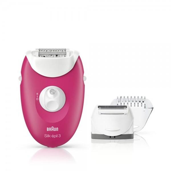 Braun Silk-épil 3 3-410 Epilator In Raspberry Pink With 3 Extras 480320-V001 by Braun