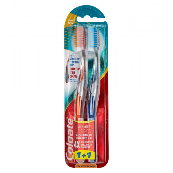 Colgate Toothbrush Slim Soft Advanced Twin Pack 2 Pieces 480745-V001 by Colgate