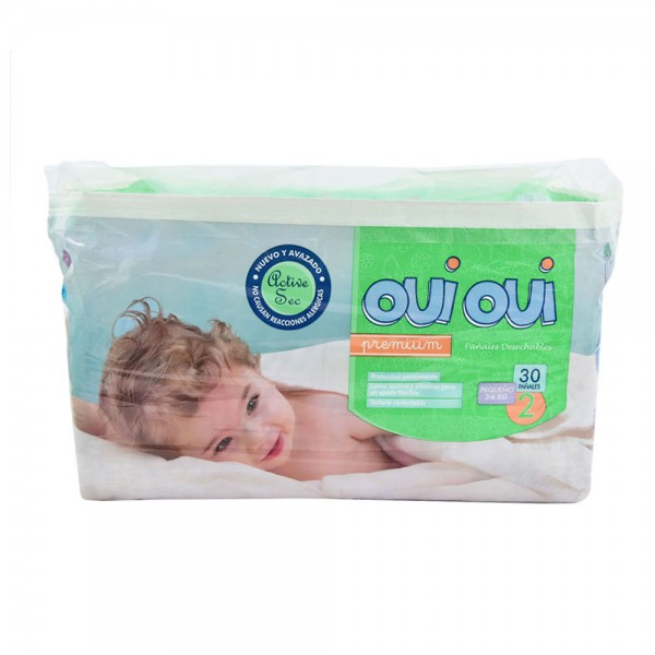 OUI OUI Premium Small 3-6Kg Size 2 30 Diapers 484787-V001 by Oui Oui