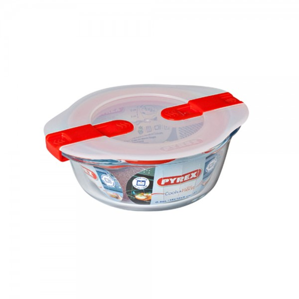 Pyrex Cook & Heat Round Glass Food Container With Patented Microwave Safe Lid 0.35L (14x12cm) 487390-V001 by Pyrex