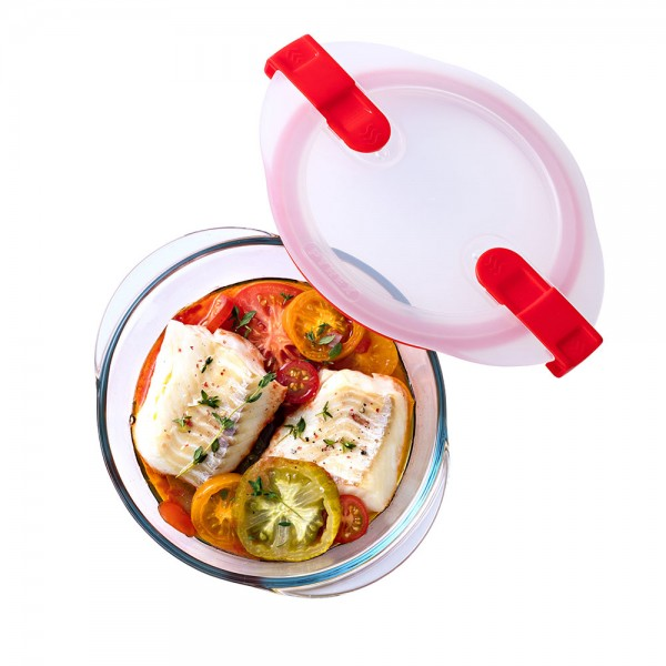 Pyrex Cook & Heat Round Glass Food Container With Patented Microwave Safe Lid 1.1L (20x18cm) 487391-V001 by Pyrex
