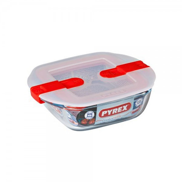 Pyrex Cook & Heat Rectangular Glass Food Container With Patented Microwave Safe Lid 0.35L (14x12cm) 487393-V001 by Pyrex