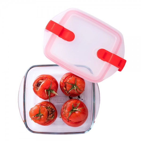 Pyrex Cook & Heat Square Glass Food Container With Patented Microwave Safe Lid 1.1L (20x17cm) 487394-V001 by Pyrex