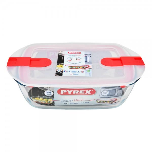 Pyrex Rectnglr Dish W/Safty Lid1.1Lt - 23X15 487397-V001 by Pyrex