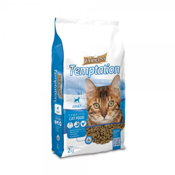 P+Princess Dry Cat Temptation Adult - 2Kg 489276-V001 by Princess