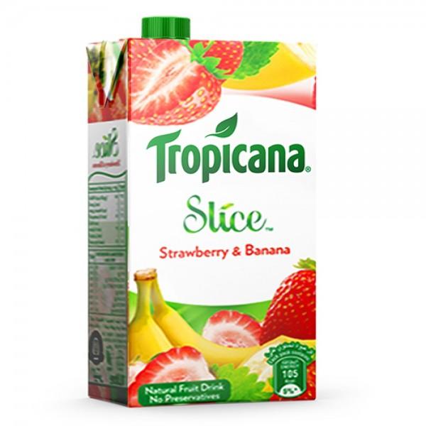 Tropicana Slice Strawberry Banana Tetra 1L 490539-V001 by Tropicana
