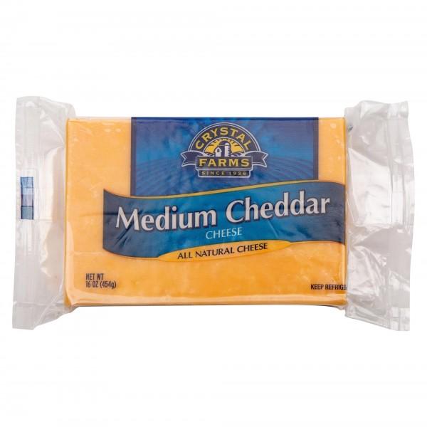 Crystal Farms Medium Cheddar Cheese Chunk 16oz 492798-V001 by Crystal Farms
