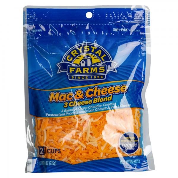 Crystal Farms Shredded Mac & 3 Cheese Blend 8oz 492818-V001 by Crystal Farms