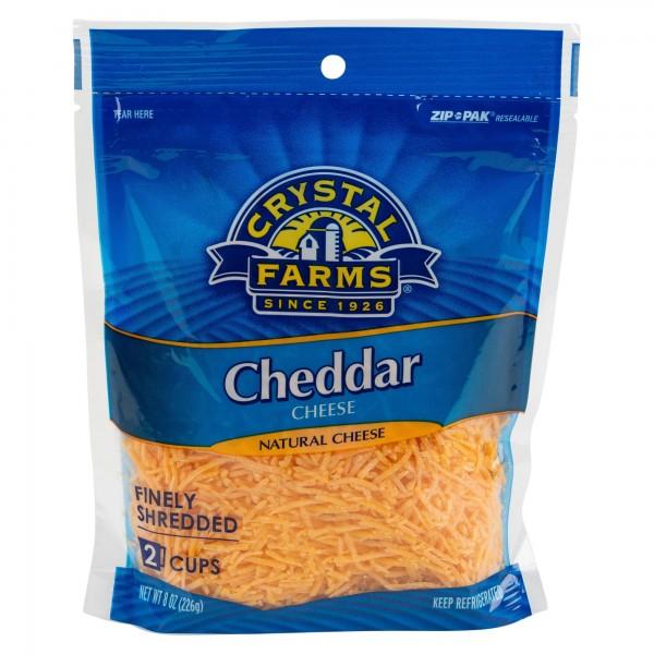 Crystal Farms Finely Shredded Cheddar Cheese 8Oz 492826-V001 by Crystal Farms